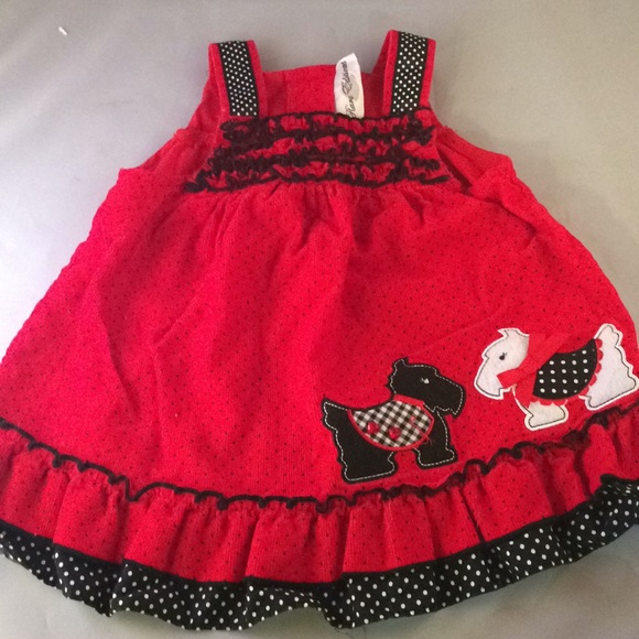 fa881800051d Rare Editions Dresses | Scotty Dog Corduroy Jumper Red Black Polka ...